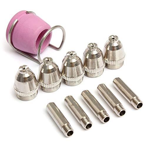 12 unids de corte de plasma Consejos de antorcha Consejos de antorcha Electrodos de escudo de cerámica Tazas de tazas de guía cortador de antorcha para AG60 CUT40 / 50/60A Boquilla de soldadura prácti