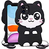 for iPhone 11 Case Cat, BEFOSSON iPhone 11 Cartoon Cute 3D Kawaii Kitty Cat Case with Phone Case Ring, Funny Animal Beautiful Soft Silicone Cat Phone Cover Case for iPhone 11 for Girls Boys Teens Kids