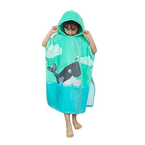 EXQUILEG 100% Baumwolle Saugfähige Kinder Badetuch Kapuzen Bademantel Bade-Poncho Kapuzenhandtuch mit Tiermotiv Kapuzenponchos Bad Strand FürJungen Mädchen (Wal, 70x60cm)