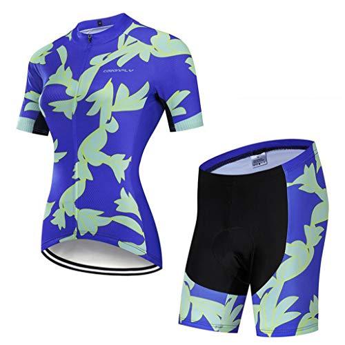 Choe, pantaloncini da ciclismo da donna, traspiranti, a maniche corte, con cerniera intera, in gel 3D, imbottiti, abbigliamento sportivo traspirante, asciugatura rapida, B, S