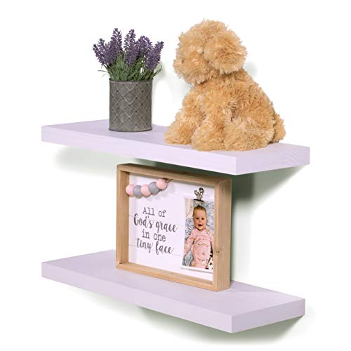 DAKODA LOVE 36' x 5.25' Clean Edge Solid Wood Floating Shelves | Premium Handmade Quality | Easy Hidden Bracket Wall Mount | Modern Rustic Pine | Set of 2 (Natural)