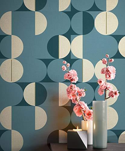 Tapete Blau Vlies in Natur-Optik | schöne, moderne, edle Tapete im Grafik-Design | für Wohnzimmer, Schlafzimmer oder Küche inklusive Newroom Tapezier-Profibroschüre mit Tipps für perfekte Wände