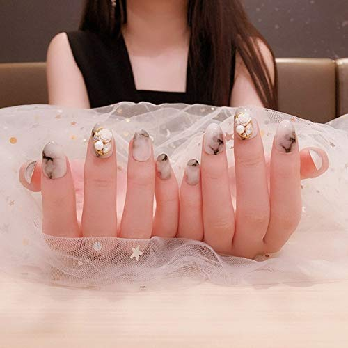 Rpbll 24pcs Ink Wash false nails short White Black Marble Texture Oval Fake Nails 3D White Flower Full Cover DIY fake nails with glue as show