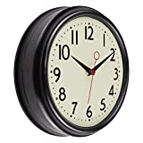 Foxtop Reloj de pared negro retro, silencioso y redondo para cocina, dormitorio, sala...