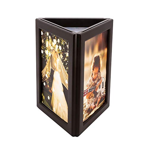 simpdecor Picture Frame 5x7 inch Three-Sided Photo Frame with Light Display on Tabletop or Shelf for Home Desk Kids Art