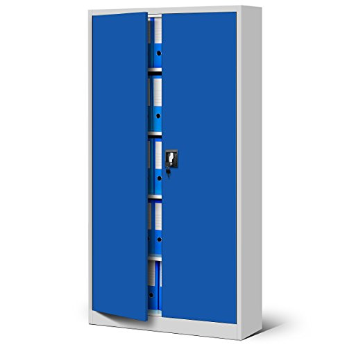 Domator24 Oficina C001 Armario de Archivio Metálico 4 Estantes Recubrimiento en Polvo Chapa de Acero 185 cm x 90 cm x 40 cm (Gris Azul)