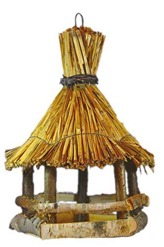 Hochwertiges handgefertigtes Holz-Vogelhaus aus Eifler Birke für Wildvögel + 1Kg Vogelfutter/Rustikales Futter-Haus zum aufhängen am Balkon-geländer/Vogel-Villa wetterfest