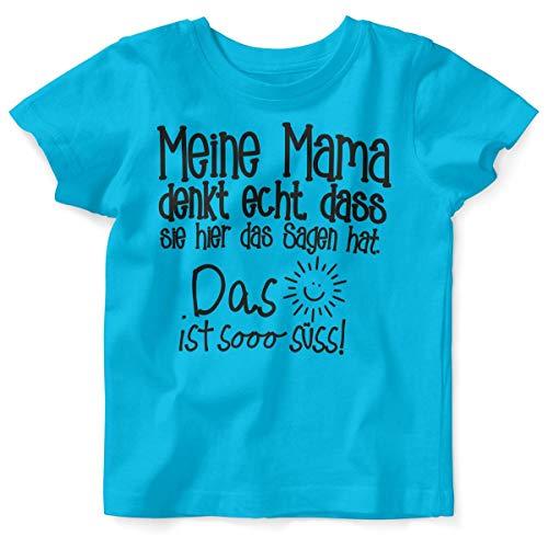 Mikalino Baby/Kinder T-Shirt mit Spruch für Jungen Mädchen Unisex Kurzarm Meine Mama Denkt echt | handbedruckt in Deutschland | Handmade with Love, Farbe:Atoll, Grösse:92/98