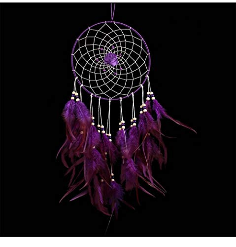 no!no! Large Indian Circle Dream Catcher Wind Chimes Purple Feather Traditional Style Pendant Wall Hanging Home Decoration Gift