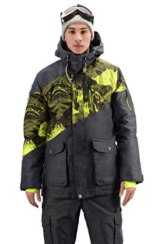 Stayer Veste de Snowboard pour Homme Noir/Motif Vert Chaud S Noir/Vert