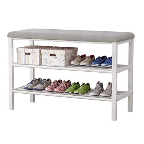 HLL Zapatero de metal con asiento de esponja, 4 – 5 pares de zapatillas, moderno y minimalista, taburetes pequeños, 2 niveles, almacenamiento de zapatos en el pasillo, gris
