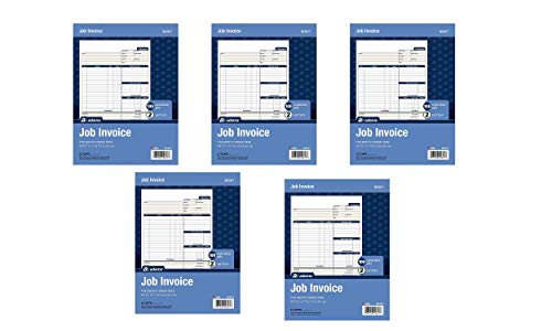 Adams Job Invoice Forms, 2-Part Carbonless, for Service and Repair Billing, 100 Individual Sets Per Pack (NC2817), White, 8-1/2 x 11-5PACK
