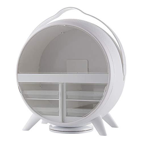 Grande Capacité Cosmétique Organisateur, LED Lighted Net Miroir Cosmétique, Créatif Coiffeuse Poussière Étagère,Blanc