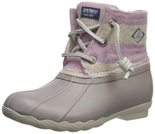 Sperry Top-Sider Girls' Saltwater Boot Ankle, Oatmeal/Lilac, 10 M US Toddler
