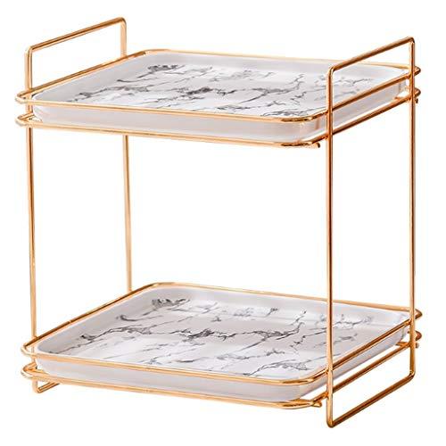 Yyqx Badezimmertablett 2 Tier Vanity Tray Badezimmer-kosmetische Ablageboden for Kommode und Aufsatz-, Marmorbad Tray Dekorative Dekotablett (Color : White, Größe : Small)