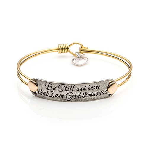 UNQJRY Personalized Gift Bridesmaid Jewelry Christian Bangle Bracelet for Female Be Still and Know That I Am God