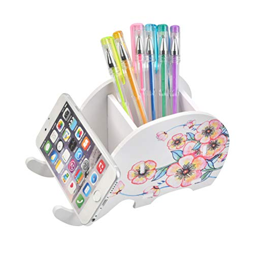 FOCCTS Pencil Holder with Phone Holder, Elephant Pencil Holder Cell Phone Stand, Multifunctional Office Accessories Desk Decoration with Cell Phone Stand Office Supplies Desk Organizer(Plum Blossom)