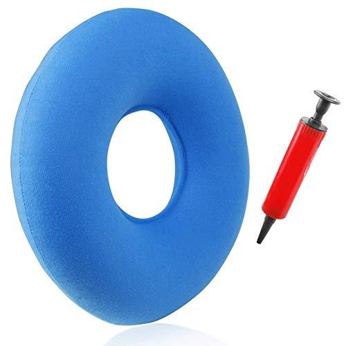 Masskko Cojín Inflable Redondo Cojín de Bedsore Cushion Cojín Antiescaras Almohada Suave para Hemorroides,Sillas de Ruedas Embarazadas Uso en Hogar/Oficina/Coche,Azul