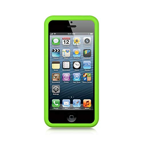 Insten Rubber Silicone Soft Skin Gel Case Cover Compatible with Apple iPhone 5/5S, Green