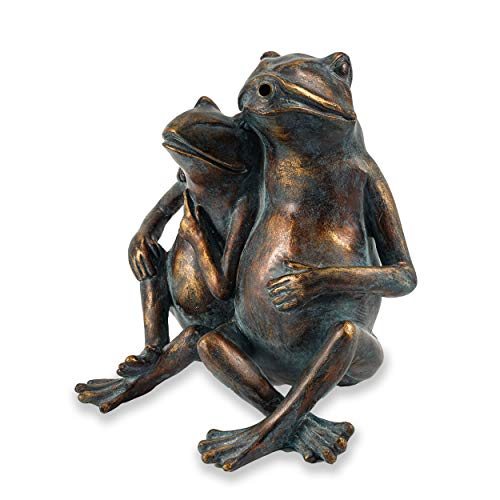 Wasserspeier Figur Froschpaar aus Kunststein - (L x B x H): ca. 210 x 150 x 250 mm - Schlauchanschluss 13 mm - Schlauchlänge ca. 1,4 m - Wassergarten Deko Teichfigur, esotec 100737