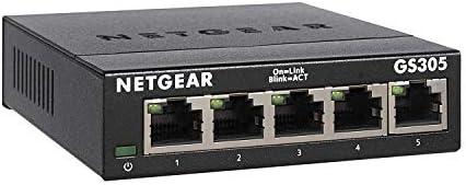 NETGEAR 5-Port Gigabit Ethernet Unmanaged Switch (GS305) - Home Network Hub, Office Ethernet Splitter, Plug-and-Play, Silent Operation, Desktop or Wall Mount