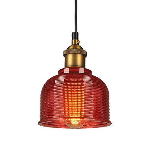 LFsem Vintage Lámparas de colgantes industrial Colorida Vidrio Lámpara de techo E27 Loft Colgantes de luz Iluminación de Suspensión para Restaurantes Bar (Rojo)