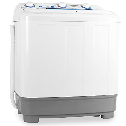 oneConcept DB004 - Mini-Waschmaschine, Camping-Waschmaschine, Waschmaschine für Singles, 4.8kg Volumen, Wäscheschleuder, 380 W Waschleistung, 160 W Schleuderleistung, Timer, weiß-grau
