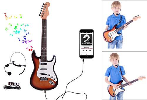 TETAKE Kindergitarre Elektrisch mit Mikrofon E-Gitarre Kinder 6 Saiten 26 Zoll Rock Gitarre Kinder mit Kopfhörer und Gurt Musikinstrument Spielgitarre für Kinder