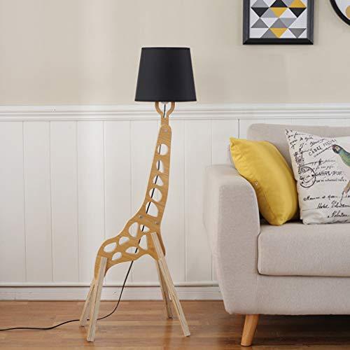 Terra Design lampenkap van linnen, creatieve staande lamp van massief hout, giraffen-design, Scandinavische stijl, woonkamer, nachtkastje