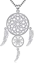 Aniu Dream Catcher Necklace for Women, Flower of life Sterling Silver Girls pendant (With Gift Box)