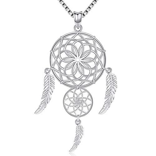 Friggem Zwei Traumfänger Dreifache Federn Sterling Halskette und Anhänger aus Silber mit plattierten Zirkonia für Frauen, Geschenk zum Muttertag