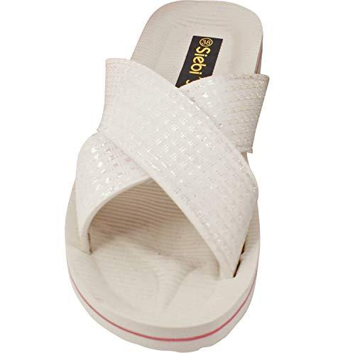 Siebi's Mainau Badeschuhe extra leichte Pantoletten Damen: Größe: 40   Farbe: Weiß