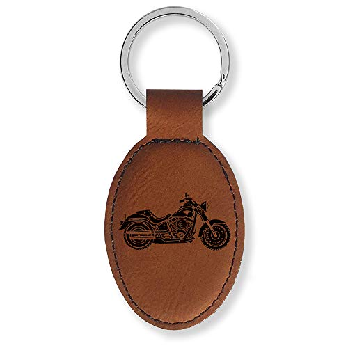 Faux Leather Oval Keychain, Motorcycle (Dark Brown)