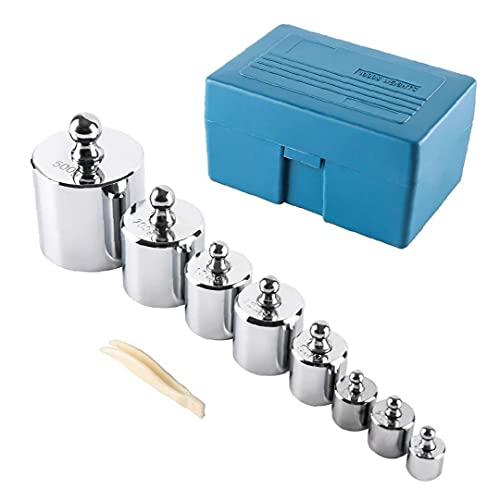 1000g calibración gramo del peso de acero cromado con la caja de herramientas para la industria joyera de Digital Escala de Laboratorio de Ciencias de la Educación 8pcs