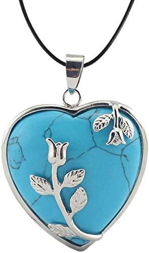 NC188 Collares Pendientes de Piedra para Mujer Flores Vintage envueltas Piedra Natural en Forma de corazón Azul Turquesa Collares Pendientes con Cadena de Cuero Adornos navideños Regalo para Mujeres