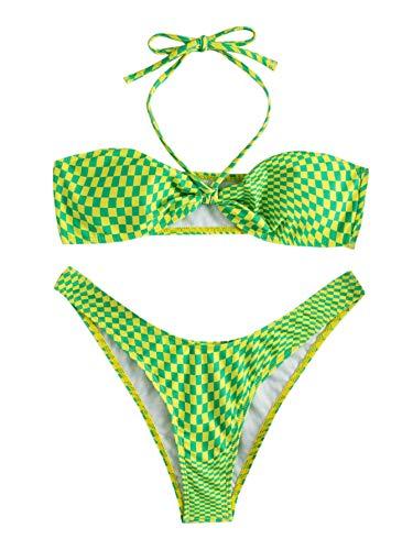 SOLY HUX Women's Criss Cross Halter Bikini Bathing Suits 2 Piece Swimsuits Green S