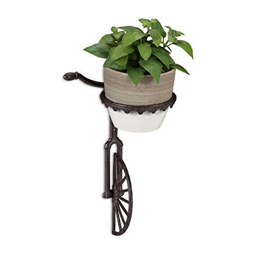 Relaxdays, dunkelbraun Wand Blumenhalter Einrad, Gusseisen, Deko Wandblumentopfhalter für draußen, wetterfest, Ø 13 cm