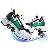 TAOXUE Adultos Niños Doble fila Rueda Parkour Patinaje Zapatos 2 En 1 Deformación Patín Patín Automático Zapatos Para Caminar Con Ruedas Patines De Polea Desmontable