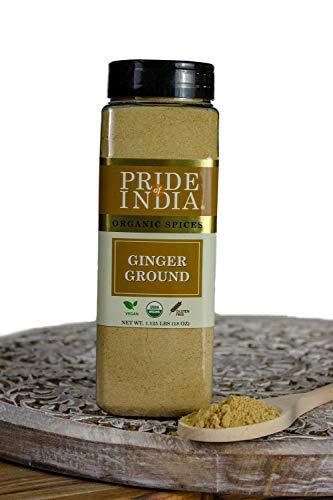 Pride Of India - Organic Ginger Fine Ground - 340 g (12 oz) Grote dubbele zeefpot - Gecertificeerde biologische Indiase kruiden - Beste voor augurken, koekjes, desserts, thee enz. - Biedt de beste prijs-kwaliteitverhouding