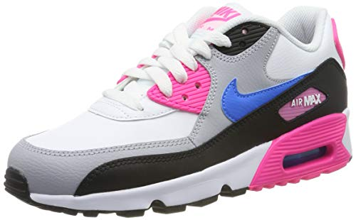 Nike Damen AIR MAX 90 LTR (GS) Gymnastikschuhe, Weiß (White/Photo Blue/Black/Pink Blast 107), 38 EU