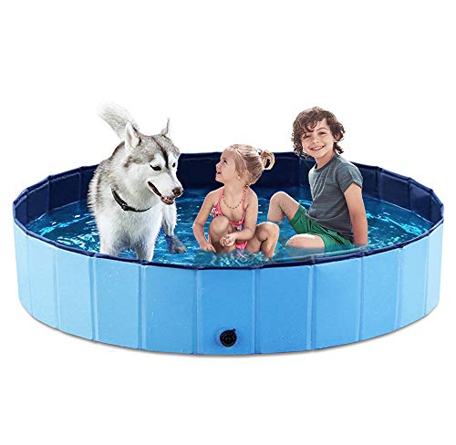 Jasonwell Foldable Dog Pet Bath Pool Collapsible Dog Pet Pool Bathing Tub Kiddie Pool for Dogs Cats & Kids (63'.D x 11.8'.H, Blue)