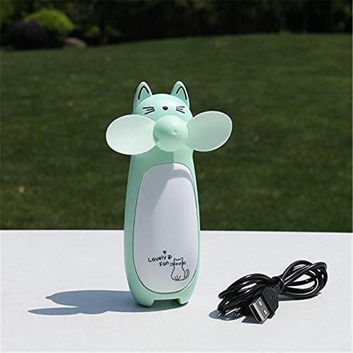 KDHDGF USB-handventilator voor het opladen van cartoons, kat, klauw, mini-fan met kinder-led-ventilator, zacht lemmet 4.8 × 4.8 × 13 CM Groene kat