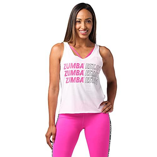 Zumba Fitness mit Grafikdruck Activewear Loses Workout Tank Top Camiseta, White EST, Extra-Large para Mujer