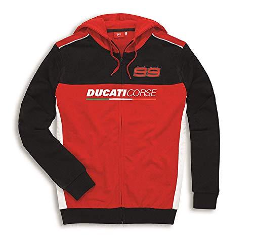 Ducati Jorge Lorenzo 99 Felpa con Cappuccio Rosso - Nero/Rosso, XXL