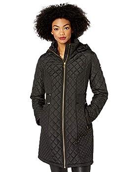 VIA SPIGA Women s Diamond Quilted Coat W/Detachable Hood Black Small