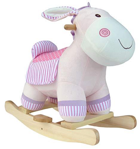 Wagner 9560 - Schaukeltier Esel aus Holz und Plüsch für Kinder und Babys Schaukelpferd Schaukel Pink Mädchen rosa