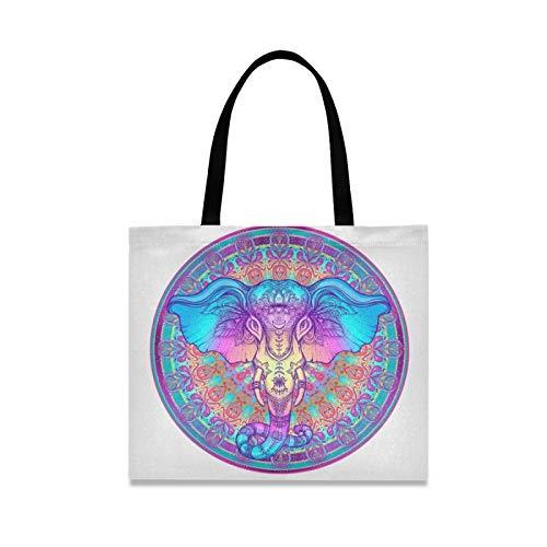 RURUTONG Mandala Folk-Custom Elefante Bolso de lona para mujeres y niñas Magnífico Boho Magia Bien Hecho Multiusos Reutilizables Comercio Playa Bolsas de Compras Bolso 2010027