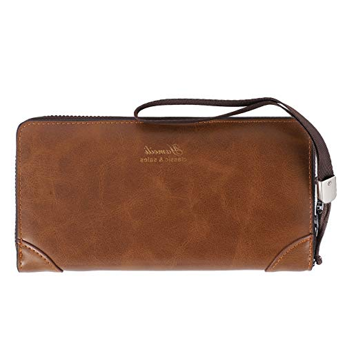 VALICLUD Male Long Wallet Men Cellphone Clutch Wallet Leather Wallet with Zipper Large Travel Business Handbag Teléfono Celular Titular de La Tarjeta Regalo para Padre Hijo Marido Novio