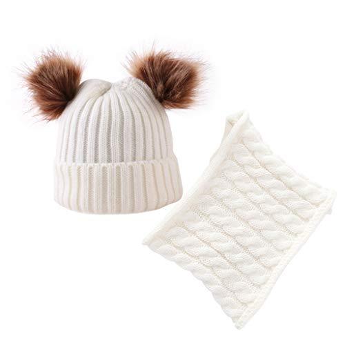 CapsA Kids Winter Hat Pom Beanie Knit Skull Cap Hats Warm Neckerchief for Children Baby Boys Girls Toddler Hat Scarf