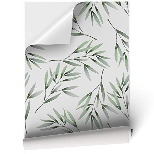 Papel Adhesivo de Vinilo para Muebles y Pared - 45x200cm - Hojas Verdes con Fondo Blanco - Vinilo Resistente, Impermeable y Removible, VNL-039-M2
